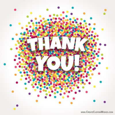 Thank you text with colorful dots