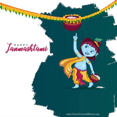 Online Customized Janmashtami Wishes Card