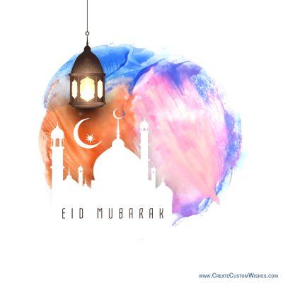 Write your name on Eid Mubarak Image