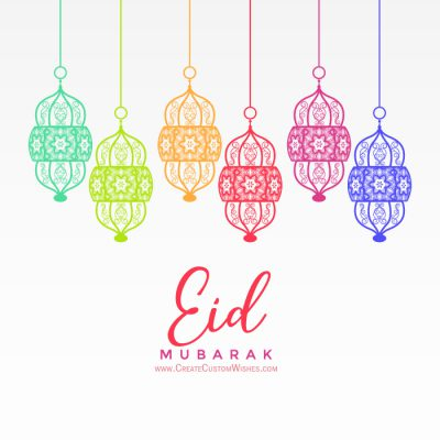 Write a text on colorful Eid Mubarak background