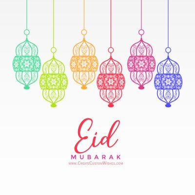 Write a text on colorful Eid Mubarak background