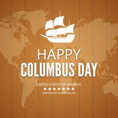 Customized Happy Columbus Day Wishes card