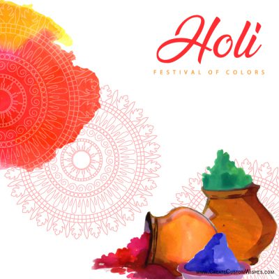 Customized happy holi wishes card