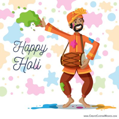 Write text on happy holi greeting card