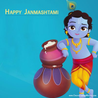 Write your name on Janmashtami wishes card