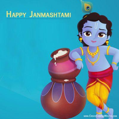 Write your name on Janmashtami wishes card