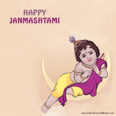 Personalized janmashtami wishes card