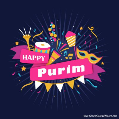 Customized Happy Purim Wishes card