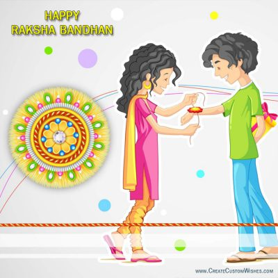 Write your name on Rakhi wishes card