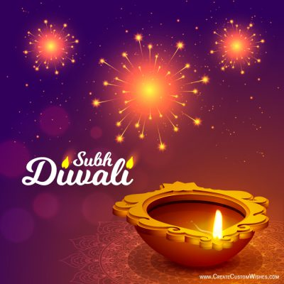 Write your name on diwali wishes card