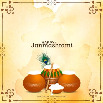 Write Name / Text / Quote on Janmashtami Wishes Image