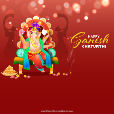 Write your Name / Text / Quote on Ganesh Chaturthi Wishes Image