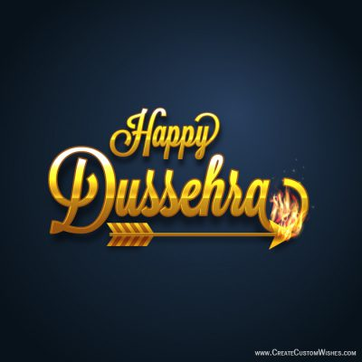 Write name on happy Dussehra image