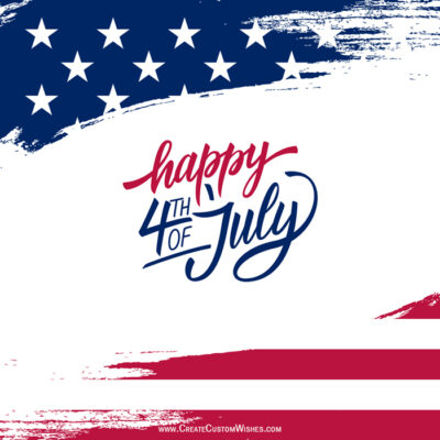 Write your name on 4th July Greetings card