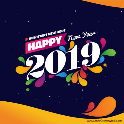 customized happy new year wishes card