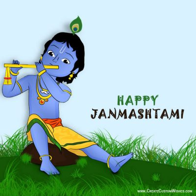 Create Custom Janmashtami Card with Name