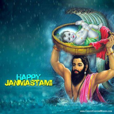 Write Text on Janmashtami Wishes Card
