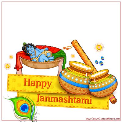 Create Janmashtami Wishes Card with Name