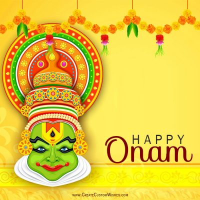 Happy Onam Wishes Card With Your Name