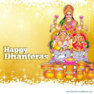 Happy Dhanteras Laxmi ji Card with Name