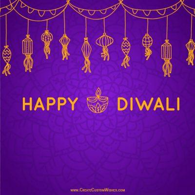Write Name on Happy Diwali Greeting Cards
