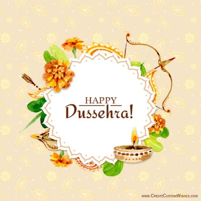 Make Dussehra Greetings Card with Name