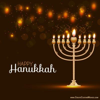 Write Text on Hanukkah Menorah Wishes Cards
