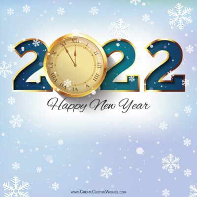 Editable 2022 Happy New Year Greeting Card