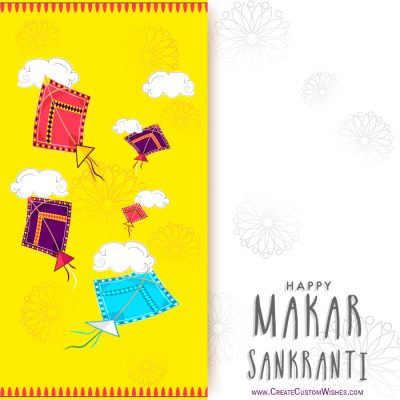Write Name on Makar Sankranti Wishes Card