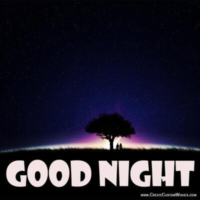 Write Name on Good Night Greetings Cards
