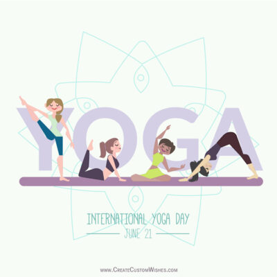Write Text on Happy Yoga Day Images