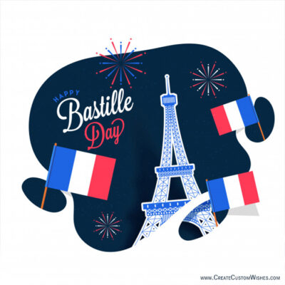 Write Quote on Bastille Day Wishes Cards