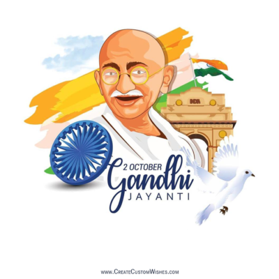 Gandhi Jayanti Wishes Image with Name
