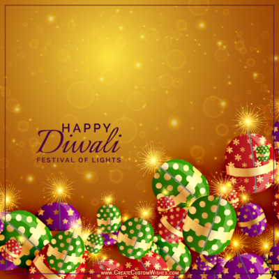 Happy Diwali Crackers Image wtih Name
