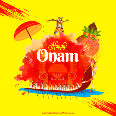 Happy Onam Greetings Card with Name