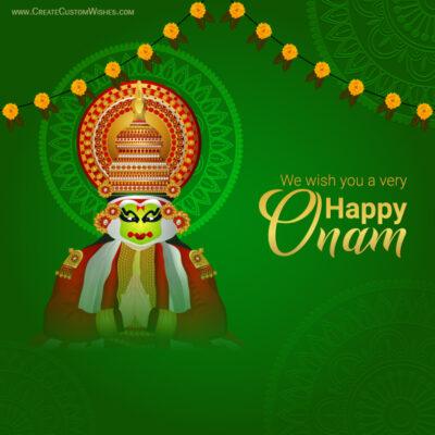 Online Write Name on Onam Wishes Image
