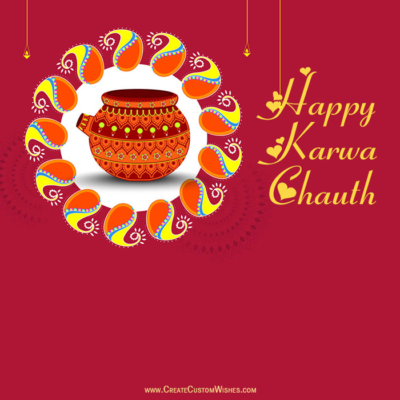Write Name on Happy Karwa Chauth Image