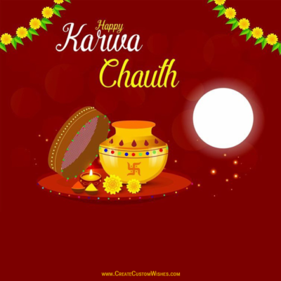 Write Text on Karwa Chauth Photos