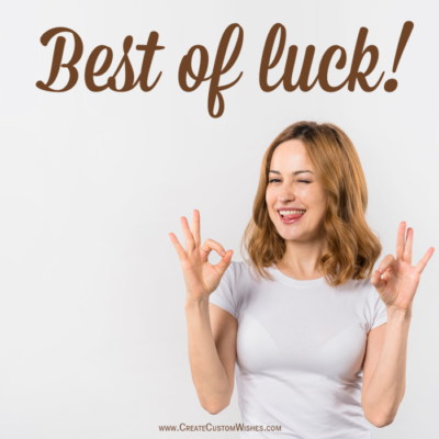 Best of Luck Wishes Images with Name