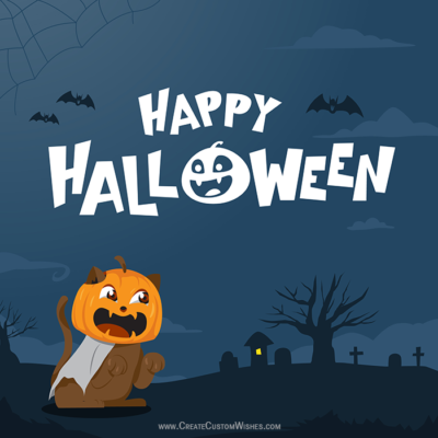 Spooky Halloween Night Background with Name