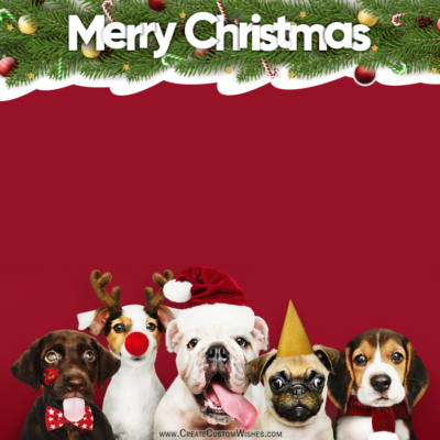 Cute Puppies Merry Christmas Images with Text