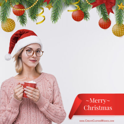 Beauty Girl with Merry Christmas Photos