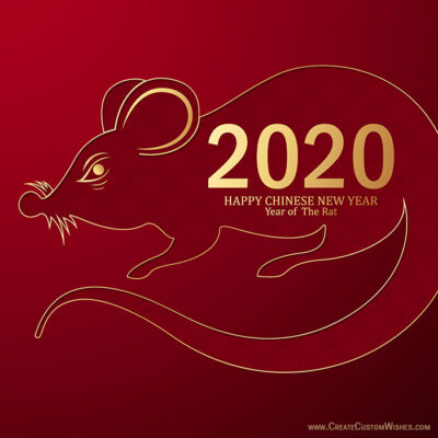 Write Name on Chinese New Year Rat Image