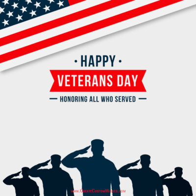 Write Name on Happy Veterans Day Image