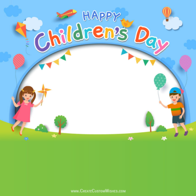 Write Text on Children's Day Image