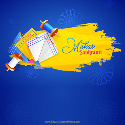 Makar Sankranti Photo with Kites and Your Name