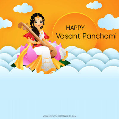 Write Text on Vasant Panchami Image