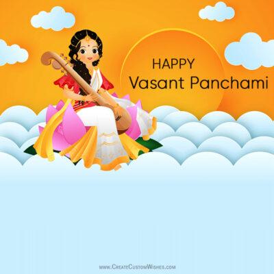 Write Text on Vasant Panchami Image