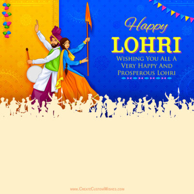 Happy Lohri Greeting Card with Name