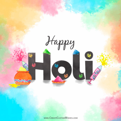 Add Name & Photo on Happy Holi Card